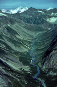 Abyss River flows through u-shaped valley, at Glacier Bay National Park, Alaska, AKGB_02147