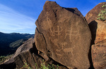 Prehistoric petroglyphs on boulder on rim of Perry Mesa, near Squaw Creek Ruin, Tonto National Forest,  Arizona, AGPix_1030