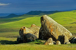 Rocks amid grassy hills near Shelby Ranch at Carrizo Plain National Monument, west of Bakersfield, California, AGPix_1039