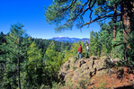 Hikers pause along Arizona Trail at Anderson Mesa with San Francisco Peaks in distance, Coconino National Forest near Flagstaff, Arizona, AZ_36508,AGPix_1051