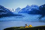Campsite overlooking Margerie Glacier and peaks of the Fairweather Range, in Glacier Bay National Park, Alaska, AKGB_05268, AGPix_1055