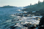 Waves on rocky shore of Lake Superior near Blake Point in Isle Royale National Park, Michigan, MI_10256, AGPix_1066