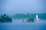 Rock Harbor lighthouse on foggy morning, shore of Lake Superior in Isle Royale National Park, Michigan, MI_10295, AGPix_1067