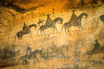 Navajo pictographs of Spanish horseback riders, on canyon wall in Canyon De Chelly National Monuemnt, Arizona, AGPix_1107