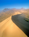 Sand dunes and fog with the Sierra San Rosario in distance, Gran Desierto Altar, Sonora, Mexico, AGPix_1126
