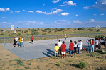 Basketball Game with 3-Person Teams on outdoor court on the Navajo Indian Nation, Hard Rock, Arizona, AGPix_1147