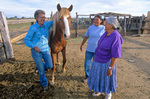 Dr. Adrienne Ruby, veterinarian, talks with Evelyn Lewis about her horse in corral near community of Hardrock on the Navajo Indian Nation, Arizona, AGPix_1157