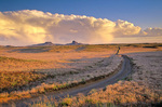 Rural road crossing the Hopi and Navajo Indian Reservations, sunset near remote community of Seba Dalkai, Arizona, AGPix_1160
