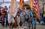 Presenting the colors during Grand Entry of pow wow dancers at community of Hardrock on the Navajo Nation, Arizona, AGPix_1163