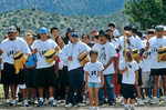 Members of San Carlos Apache Tribe gather to drum and sing a song at completion of 345 mile long spiritual run, Mount Graham Sacred Run, during  Sacred Mountain Run event at San Francisco Peaks outside of Flagstaff, Arizona, AGPix_1168
