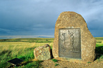Stone monument with bronze plaque at site of Bear Paw Battlefield, part of Nez Perce National Historic Site near Chinook, Montana, AGPix_1174