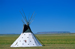 Indian tepee, crow style, standing on the Great Plains at Ulm Pishkun State Park, near Great Falls, Montana, AGPix_1180 