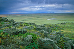 Rocky rim of Snake Butte, view out over Great Plains on the Fort Belknap Indian Reservation, near Harlem, Montana, USA, AGPix_1183