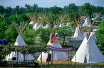 Tepees in campground, largest tepee camp in the world during the annual Crow Fair at Crow Agency, Montana, USA, AGPix_1184