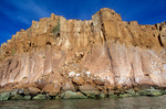 Sea cliffs of volcanic rock exposed along coast of Espiritu Santo, an island in Sea of Cortez near La Paz, Baja California, Mexico, AGPix_1209  