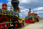 Replica historic train locomotives, transcontinetal railroad at Pomontory Point, Golden Spike National Historic Site, Utah, AGPix_1219