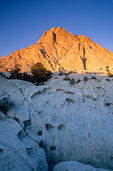 Crystal Peak in the Wah Wah Mountains at sunrise, mountain of volcanic, non-welded rhyolite, ash-flow tuff with tafoni, BLM lands of western, Utah, AGPix_1222