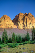 Red Castle Mountain at sunset, in the High Uinta Wilderness Area, Uinta Mountains in Wasatch National Forest, Utah, AGPix_1236