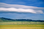 Wave clouds form over the Sevier Plateau, orographic stratiform clouds, viewed from the Sevier River Valley, Utah, AGPix_1246