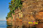 Kayaking along Lake Superior Cliffs at Apostle Islands National Lakeshore, Bayfield, Wisconsin, AGPix_1248