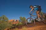 Mountain biking on Templeton Trail with Cathedral Rock in background, riding in Coconino National Forest, Sedona, Arizona, AGPix_1254