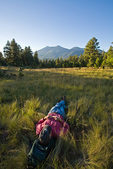 Hiker resting in grassy meadow beside the Sunset Trail with view of San Francisco Peaks in the Mount Elden area of Coconino National Forest near Flagstaff, Arizona, AGPix_1257