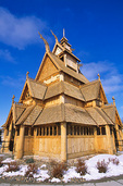 Gol Stave Church, a replica of historic church in Norway, consturcted at Scandinavian Heritage Park, winter in Minot, North Dakota, AGPix_1269
