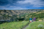 Family hiking together on Caprock Coulee Trail in North Unit of Theodore Roosevelt National Park, North Dakota, AGPix_1272