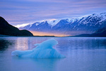 Iceberg floating in Reid Inlet at sunset, Glacier Bay National Park, Alaska, AGPix_1301