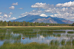 Man Fishing in Marshall Lake with San Francisco Peaks in background. This natural wetland is located on Anderson Mesa in the Coconino National Forest near Flagstaff Arizona, AGPix_1304