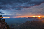 Summer monsoon thunderstorm at sunset over Mogollon Rim, view near Burnt Point looking west toward Milk Ranch Point, Coconino National Park, Arizona, AGPix_1320