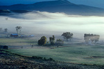 Radiation fog in mountain valley, early morning near Ridgway, Colorado,  AGPix_1328