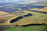 Esker, a sinuous ridge formed by subglacial ice age stream, aerial view near Dahlen, North Dakota,  AGPix_1329