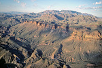 Mountains and canyons with Chisos Mountains in background, aerial view over Big Bend National Park, Texas, USA,  AGPix_1334