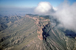 South Rim of Chisos Mountains with clouds, aerial view over Big Bend National Park, Texas, USA,  AGPix_1337