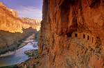 Ruins of ancient Puebloan Indian granaries at Nankoweap above the Colorado River, Grand Canyon National Park, Arizona, AGPix_1356