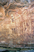 "Ancient indian rock art, pictographs or paintings, of the archaic age in the ""Shaman's Gallery"" site in Grand Canyon National Park, Arizona, AGPix_1360"