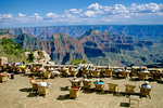 Tourist relax on patio at Grand Canyon Lodge on North Rim of Grand Canyon National Park, Arizona, AGPix_1370