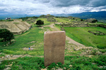 Monte Alban, circa 200BC to 700 AD, a great pre-columbian city, with Stela on North Platform on hilltop above Oaxaca, Mexico, AGPix_1393