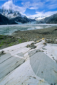Igneous rock with mafic Xenoliths and marks of glacial striations, on shore of Johns Hopkins Inlet in Glacier Bay National Park, Alaska, AgPix_1403