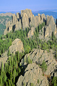 Cathedral Spires in Needles area of Custer State Park, viewed from Little Devils Tower in the Black Hills of South Dakota, AgPix_1417