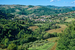 Town of Valfabrica among the Umbrian hills in Valley of Chiascio River, north of Assisi, Umbria, Italy, AGPix_1430