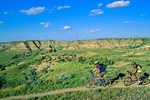 Mountain biking across prairie and badlands on the Maah Daah Hey Trail in the Little Missouri National Grasslands, near Medora, North Dakota, AGPix_1433