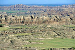 Landscape of Badlands walls and prairie below Pinnacles Overlook at Badlands National Park, South Dakota, AGPix_1438