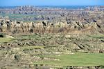 Landscape of Badlands walls and prairie below Pinnacles Overlook at Badlands National Park, South Dakota, AGPix_1438