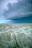 Thunderstorm, over Badlands landscape of eroded sediments in Badlands National Park, South Dakota, AGPix_1443
