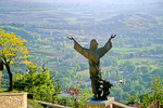 Statue of Saint Francis of Assisi stands above the Rieti Valley at the village of Poggio Bustone, Lazio, Italy, AGPix_1450