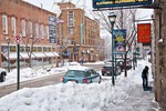 Downtown Flagstaff, Aspen Street on snowy winter morning, Flagstaff, Arizona, _MG_28693, AgPix_1451