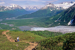 Hiker above Exit Glacier on Harding Icefield Trail at Kenai Fjords National Park, Alaska, AK_00050, AgPix_1454