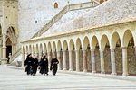Nuns walk in plaza at Basilica of Saint Francis, Assisi, Umbria, Italy, IT_01415, AgPix_1460